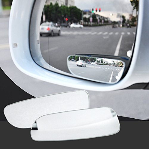 (flujo External Decoration Mirror 1 Pair Square Blind Spot Mirror 360 Degree ABS Glass Universal for Vehicles Car - Silver)