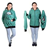 3in1 Maternity Polar Fleece Hoodie for Baby Carriers TURQUOISE/GREY NP01/A (4XL/5XL - US18/20)