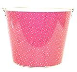 Galvanized PInk Polka Dots Ice Bucket