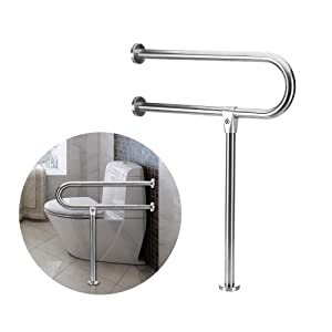 Handicap Rails Grab Bars Toilet Rail Bathroom Support For Elderly Bariatric Disabled Stainless Steel Commode Medical Accessories Safety Hand Railing Guard Frame Shower Assist Aid Handrails Hand Grips