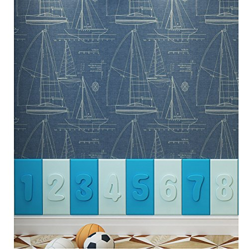 WEDECOR Educational Faux Leather Wall Ppadding for Kindergartens Numbers(1-8) Pack of 8 19.7x9.8inch/piece (Blue&Light blue) - Number 5 Leather
