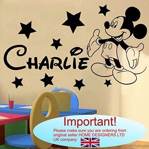 Wall Sticker - Mickey Mouse Personalised Name (Any Name,Text ...
