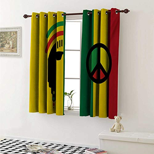 shenglv Rasta Customized Curtains Iconic Barret Reggae and Jamaican Music Culture with Peace Symbol and Borders Curtains for Kitchen Windows W63 x L45 Inch Red Green Yellow