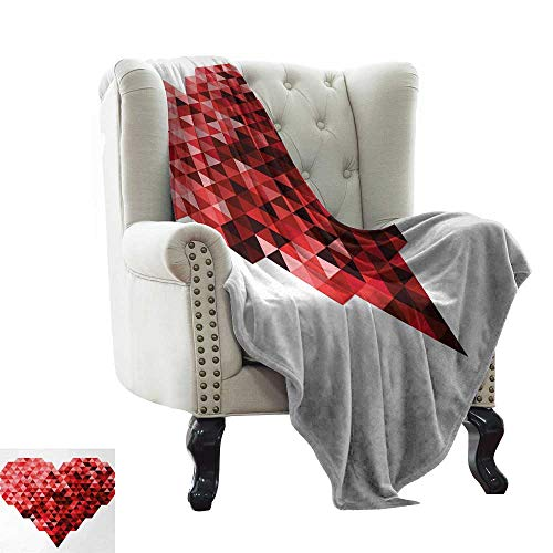 BelleAckerman Ultra Soft Flannel Fleece Blanket Burgundy,Futuristic Modern Heart in Geometrical Ombre Style in Squared Pixels Artwork,Red and Ruby Colorful | Home, Couch, Outdoor, Travel Use 50