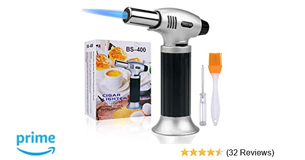 Baking DIY Soldering/& More Culinary Butane Torch Adjustable Flame Creme BBQ Brulee Kitchen Blow Torch Cooking Torch Lighter for Baking Cooking Culinary Cooking Blow Torch