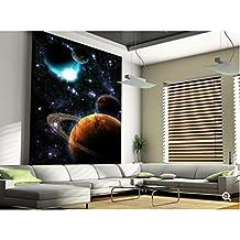 ZLJTYN 270cmX180cm Custom papel de parede infantil,Solar flares, stars Nebula,3D Cartoon children's room ceiling mural for bedroom Vinyl wallpaper