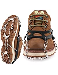 Traction Cleats Crampons Unisex Men Women Ice Grippers Anti-Slip Stainless Steel Snow Spikes for Shoes Boots Spikes Winter Walking Hiking Climbing Spikes