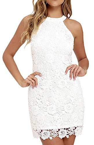 Berydress Women's Short Lace Bridal Formal Skater Dress (US14, #6010_White)
