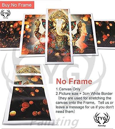 mbxztm Toile Peinture Abstraite Mur Art Cadre HD Imprim/é D/écor /À La Maison Huile Affiche 5 Panneau Blanc Cheval Et Indiens Modulaire Photos-Cadre