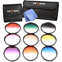 K&F Concept SLIM 9pcs 58mm Graduated Color Filter Set Orange Blue Neutral Density ND4 Red Purple Green Pink Brown Yellow Lens Filter Kit for CANON EOS Rebel T5i T4i T3i T3 T2i T1i XT XTi XSi SL1 DSLR Cameras + Lens Cleaning Cloth + Filter Bag Pouch