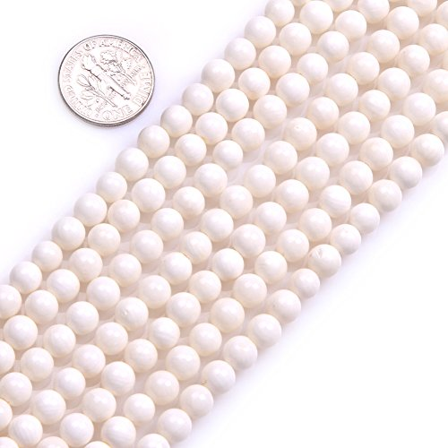 GEM-inside Coral Gemstone Loose Beads 6mm Round Cream White Crystal Energy Stone Power For Jewelry Making 15