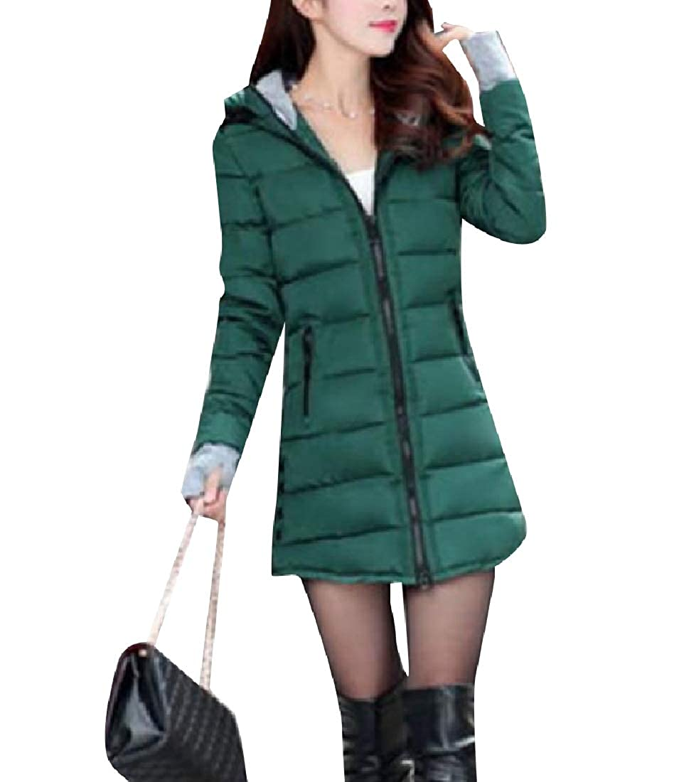 Blackish Green FXLM Womens Fitted Hooded Brumal Casual Leisure Mid Long Outdoor Coat