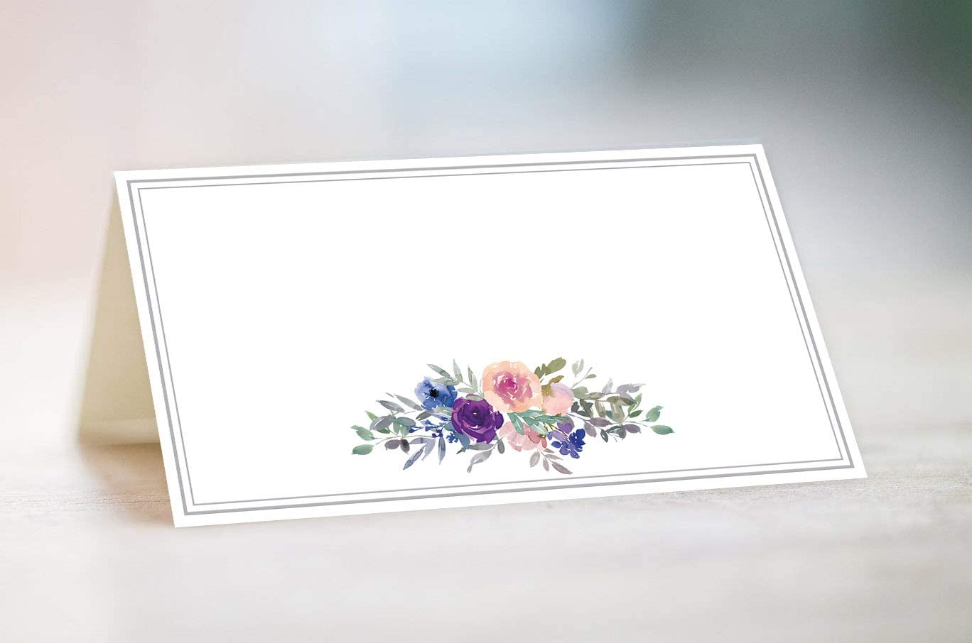 Place Cards, Food Tent Labels, 30 Cards, Made In The USA (Purple Floral)