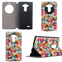 LG G4 Case,LG G4 Quick Circle Case,GOODTONY [Touch Series][Magnetic Closure][Kickstand] Smart Window View Flip Cover Back Folio Case with Wake up/Sleep Function for LG G4 (smile) (bright)