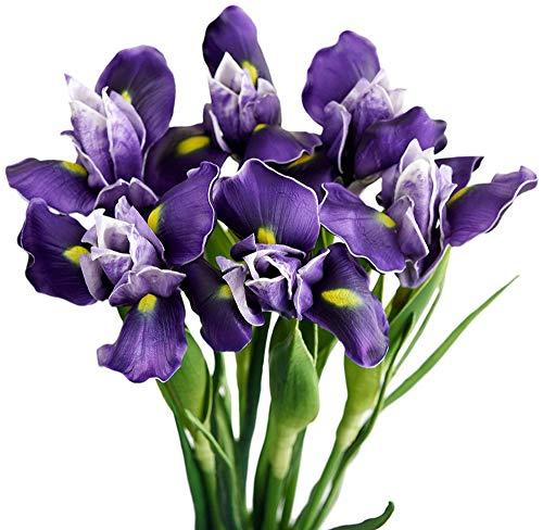 MARJON FlowersLong Stems (Dark Purple) Real Touch Artificial Iris Flowers for Home Shop Office Restaurant Wedding Decoration Party DIY Flower Arrangement