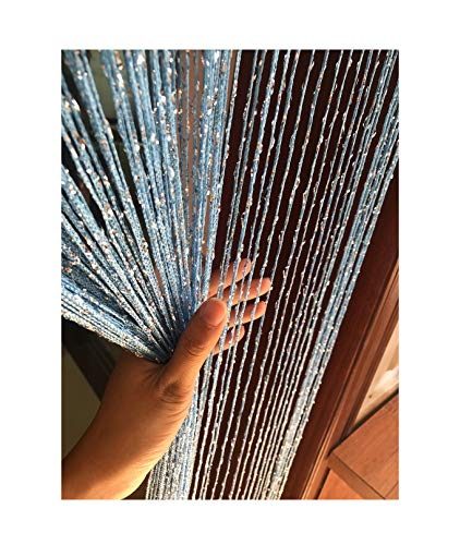 Eyotool 1x2 M Door String Curtain Rare Flat Silver Ribbon Thread Fringe Window Panel Room Divider Cute Strip Tassel for Wedding Coffee House Restaurant Parts, Sky Blue