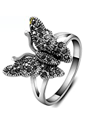 AOPAL Retro Black Crystal Rhinestone Flying Butterfly Ring White Gold Costume Jewelry