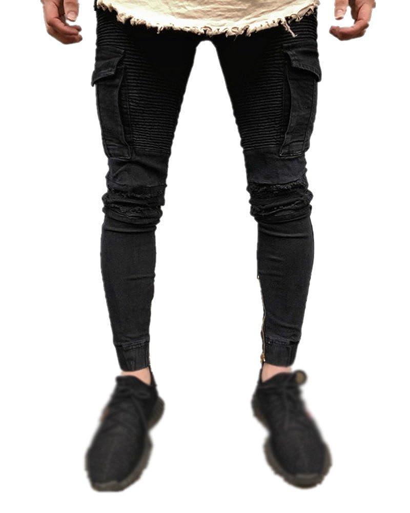 Mengmiao Jeans Elasticizzati da Uomo Super Skinny Pantaloni