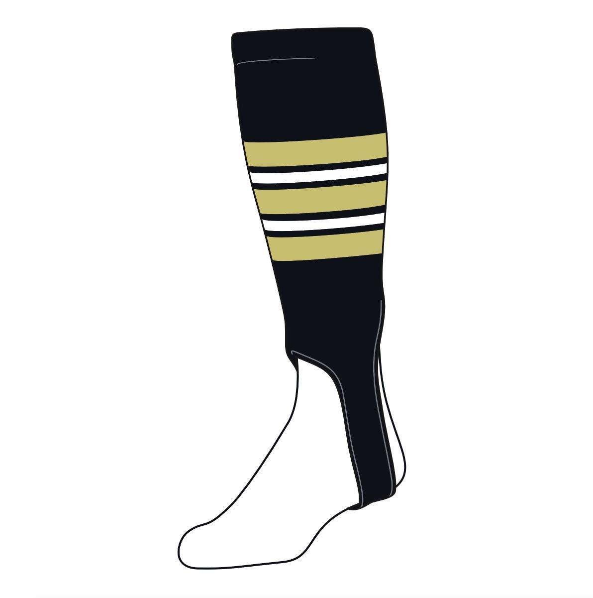 TCK Baseball Stirrups Large PRO (700F, 5in) Black, Vegas Gold, White by TCK Socks