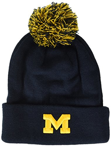 Michigan Knit Hat - ZHATS NCAA Michigan Wolverines Adult Men Pom Knit Beanie, Adjustable, Team Color