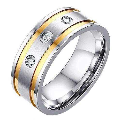 AWLY Two Tone Wedding Eternal Band for Men Women AAA White Cubic Zirconia CZ Stainless Steel Anniversary Ring Size 9 (Triple Tone Wedding Bands)
