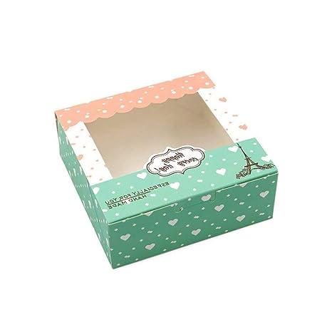 Lvcky - Juego de 12 Cajas de Papel para Tartas con diseño de Corazones Dulces,