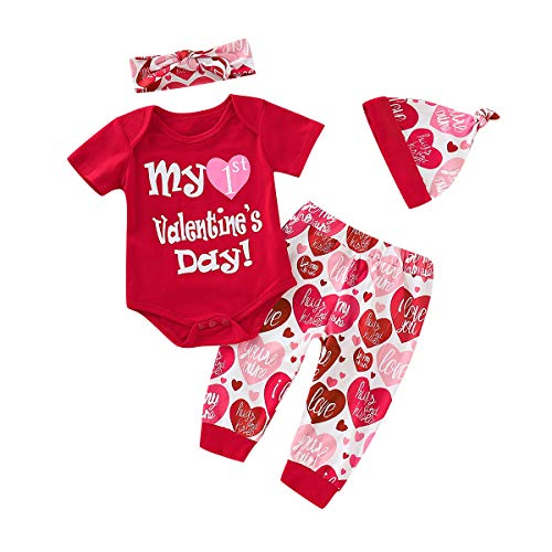 - MILWAY My 1st Valentine's Day Outfit Sets 4Pcs Baby Girl Boy Romper + Love Pants with Headband + Cap (100/12-24months, red)