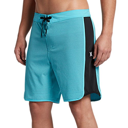 (New Hurley Men's Phantom Motion Stripe Boardshort Polyester Spandex Blue)