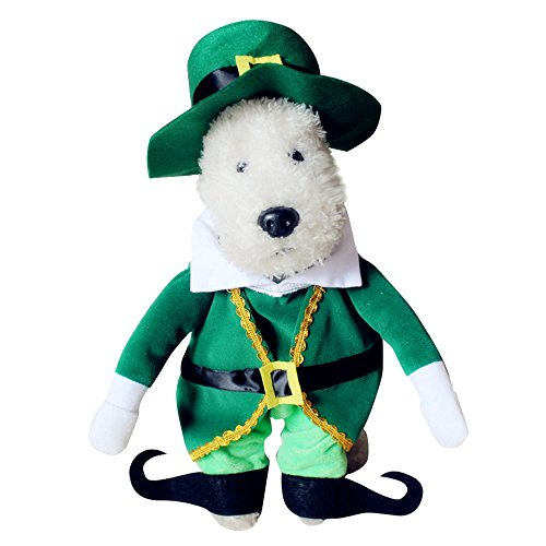 [Cideros Cute Pet Costumes Christmas Themed Holiday Festive Dog Cat Clothes Coat Apparel with Hat Cap Green Outfit - Size] (Costume Design For Rabbit Hole)