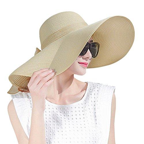 Womens Big Bowknot Straw Hat Large Wide Brim Beach Cap Foldable Roll up Sun Hat UPF 50+ (Khaki) Khaki Cream