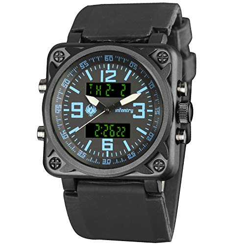 INFANTRY Mens Big Face Dual Display Military Watches Tactical Sport Wrist Watch for Men Analog Digital Black Silicone Band
