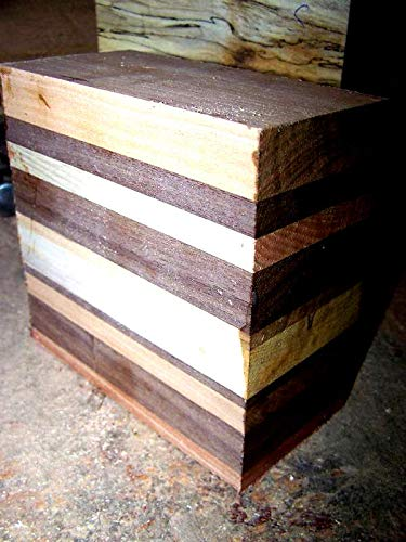 2 Piece of Various Hardwoods Laminated Bowl Blank Lumber Wood 6 X 6 X ()