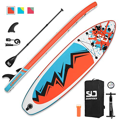 Swonder 10' Inflatable Stand Up Paddleboard - 17.2lb Ultra-Light Paddle Board, Stable Non-Slip Deck, 275lb Max Weight - Complete Kit w/Backpack, Adjustable Paddle, Pump, and Ankle Leash