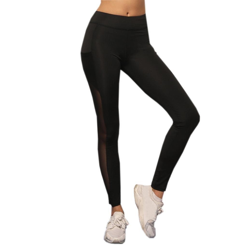 4c76f40015185b Amazon.com: Pocciol Mesh Yoga Leggings,Yoga Pants Mesh Workout Leggings for  Women, Black Active Capri Gym Tummy Pant: Clothing