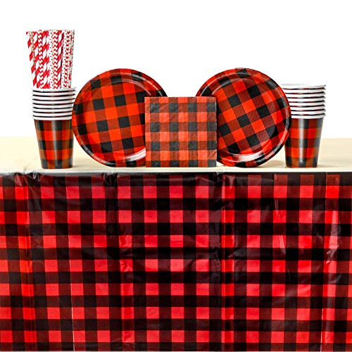 Buffalo Plaid Red Lumberjack party pack for 16 Guests | 16 Straws, 16 Dessert Plates, 16 Beverage Napkins, 1 table cover, Cups | Charming Bundle for your lumberjack party, camping party -