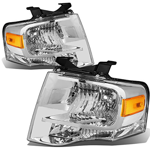 For Ford Expedition U324 Pair of Chrome Housing Amber Corner Headlight Kit - Ford Expedition Headlight Assembly