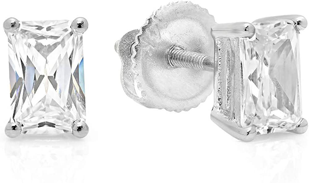 2.20 CT Emerald Cut Simulated Diamond Solitaire Stud Earrings in 14k White Gold Screw Back