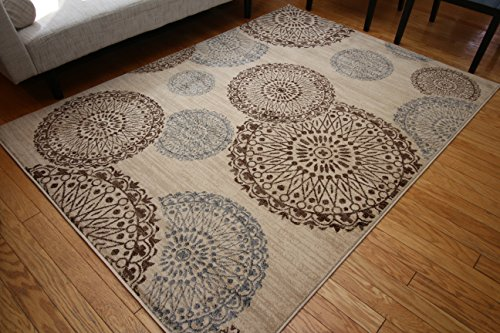 New City Contemporary Modern Flowers Circles Wool Area Rug, 5 2 x 7 3, Beige