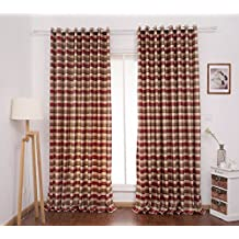 red plaid curtain panels