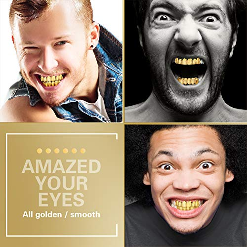 TSANLY Gold Grillz - New Custom Fit 24k Gold Grillz Plated Tooth Grills fit Mouth Caps Top & Bottom Grill Set Grills for Son by TSANLY (Image #4)