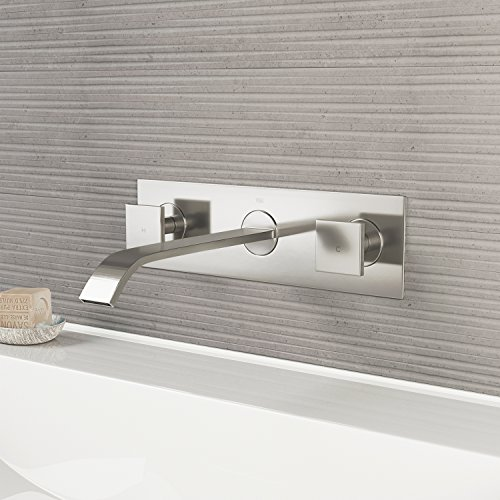VIGO VG05002BN Titus Two Handle Wall Mount Bathroom Faucet, Brushed Nickel Lavatory Faucet, Unique Plated 7 Layer Finish with Matching Pop Up Included ()