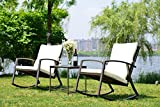 GOJOOASIS Outdoor Conversation Set 3 PCS Patio Furniture Wicker Rocking Chair with Cushion Brown
