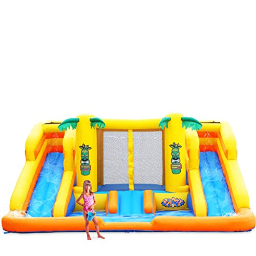 Blast Zone Rainforest Rapids Inflatable Water Park Bouncer with Slides ()