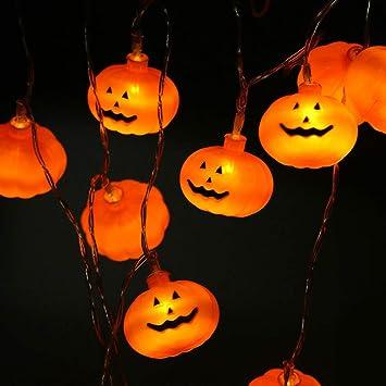 LED Halloween Lichterkette Kürbis mit 12 LEDs 160 cm Batteriebetrieb