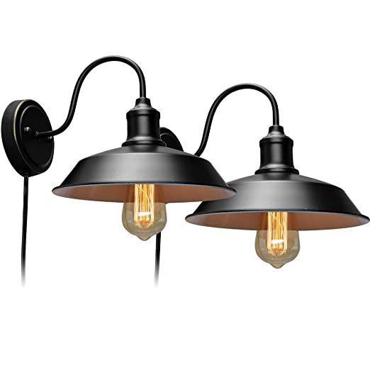 Stepeak Black Wall Sconce with Plug in Cord and On Off Toggle Switch,  Gooseneck Retro Wall Light Fixtures for Bedroom Nightstand, Barn or  Warehouse ...