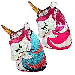 Reversible Flip Sequin Unicorn Shaped Stuffed Pillow