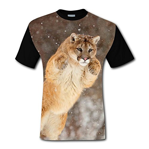 100% Cotton New Fashion T-Shirts 3D Customized With Cougar For Men M