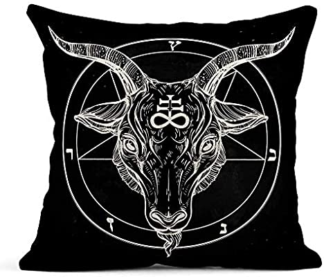 odin sky Throw Pillow Cover Imprimir Pentagram Demonio Baphomet ...