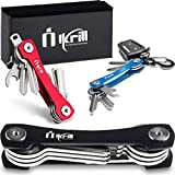 Smart Key Holder Key Chain -Pocket Key Keeper and Compact Key Organizer up to 20 Keys with Stainless Steel Screws, Sim & Bottle Opener, Carabiner, Expansion Keys Pack (Black)