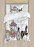 Ambesonne Kids Duvet Cover Set Twin Size, Vintage Floral Carriage with Black Horse and Colorful Flowers Fairy Butterfly Print, Decorative 2 Piece Bedding Set with 1 Pillow Sham, Multicolor